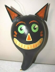 Black Cat Painted Gourd Rattle Folk Art Americana Vintage Primitive 11 Tall