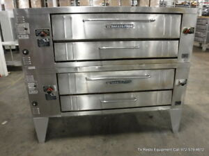 Bakers Pride Y600 Gas Used Double Deck Pizza Oven On Legs