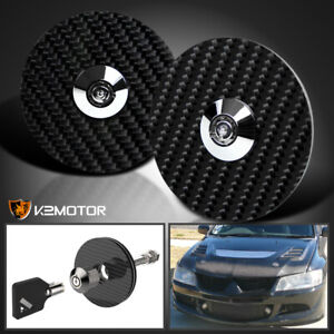 Jdm Carbon Fiber Racing Locking Security Mount Hood Pins Latch Lock Bolts W Keys