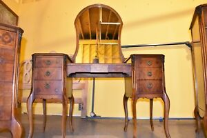 Antique Bedroom Suite Mahogany Walnut With Stencil And Inlay Vintage Furniture
