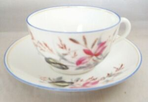 Fine Bone China Tea Cup And Saucer With Hand Painted Wildflowers