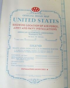 1951 Us Road Map W Locations Of Air Force Army Navy Installations Military