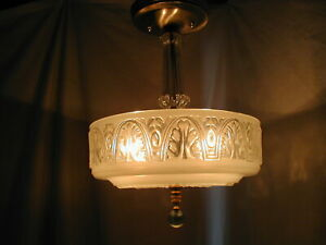 Vtg Antique 30s Art Deco Nouveau Glass Floral Shade Light Fixture Chandelier