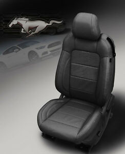 2015 2019 Ford Mustang Gt V6 Convertible Katzkin Black Leather Seat Covers Kit