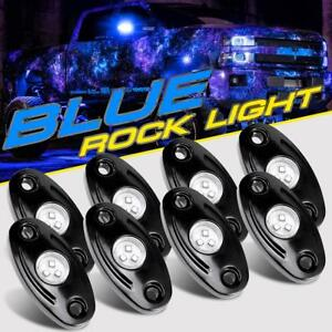 8 Pod Blue Led Rock Lights Offroad Music Wireless Bluetooth Control Atv Truck