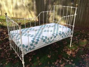 Antique Iron And Brass Youth Bed