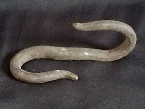 Antique Hand Forged Fireplace Kettle Hook Heavy Duty Iron