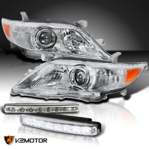 For 2010 2011 Toyota Camry Projector Headlights 8 Led Fog Bumper Lamps