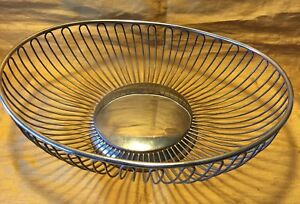 Vtg 10 75 Oval Silverplate Wire Fruit Bread Basket W Footed Base