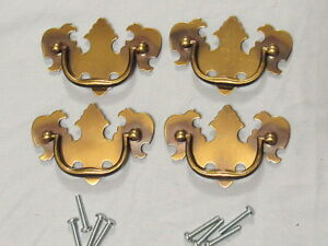 4 Vintage Brass Chippendale Style Drawer Pulls 2 1 2 Center To Center Nos