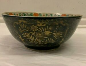 Large Antique Oriental Porcelain Blue And Gold Bowl Late 19th Century