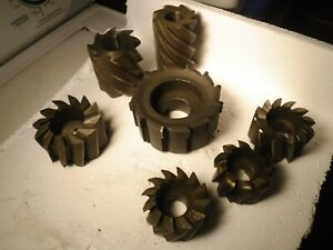 Lot Of 7 Shell Mills Cutters Hss Carbide Tipped