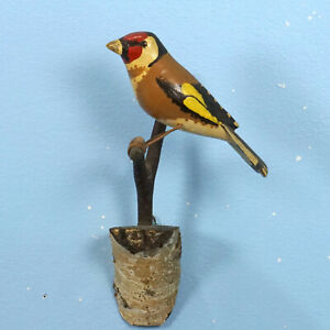 Antique German Black Forest Wood Carving Bird Finch On Branch Wall Plaque