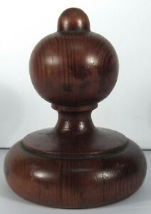 Antique Wood Finial Newel Post Top Pine Architectural Piece Cap A