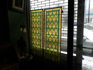 Pr Of Original Large Antique Art Deco Stained Glass Panels In Metal Frames