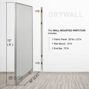Gof Wall Mounted Office Panel Divider 36 w X 48 h 36 w X 60 h 36 w X 72 h