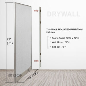Gof Wall Mounted Office Partition Divider 48 w X 48 h 48 w X 60 h 48 w X 72 h