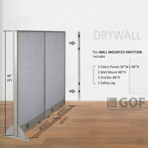 Gof Wall Mounted Office Partition Divider 60 w X 48 h 60 w X 60 h 60 w X 72 h