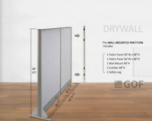 Gof Wall Mounted Office Partition Divider 66 w X 48 h 66 w X 60 h 66 w X 72 h