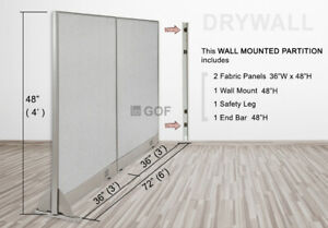 Gof Wall Mounted Office Partition Divider 72 w X 48 h 72 w X 60 h 72 w X 72 h
