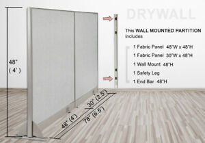 Gof Wall Mounted Office Partition Divider 78 w X 48 h 78 w X 60 h 78 w X 72 h