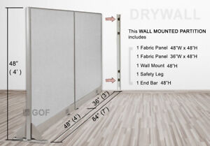 Gof Wall Mounted Office Partition Divider 84 w X 48 h 84 w X 60 h 84 w X 72 h