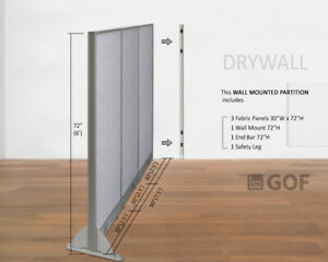 Gof Wall Mounted Office Partition Divider 90 w X 48 h 90 w X 60 h 90 w X 72 h