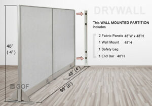 Gof Wall Mounted Office Partition Divider 96 w X 48 h 96 w X 60 h 96 w X 72 h