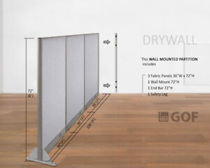 Gof Wall Mounted Office Panel Divider 108 w X 48 h 108 w X 60 h 108 w X 72 h