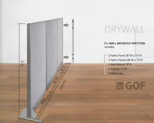 Gof Wall Mounted Office Panel Divider 132 w X 48 h 132 w X 60 h 132 w X 72 h