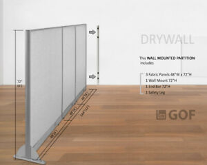 Gof Wall Mounted Office Panel Divider 144 w X 48 h 144 w X 60 h 144 w X 72 h