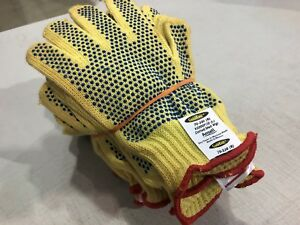 12 New Ansell Kevlar Cut resistant Goldknit Dotted Work Gloves 70 330 9 Large