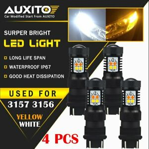 4x 3157 3457 White Amber Dual Color Switchback Led Turn Signal Light Bulbs 16k A