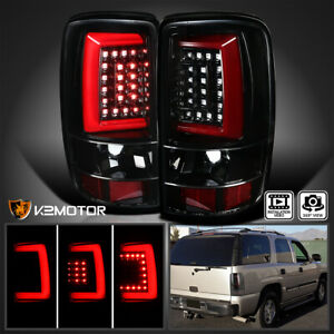 Jet Black 2000 2006 Chevy Suburban Tahoe Gmc Yukon Denali Led Bar Tail Lights
