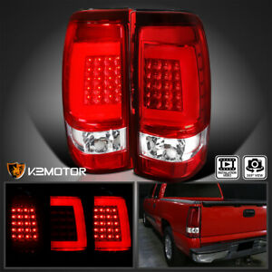 2003 2006 Chevy Silverado Gmc Sierra Pickup Red Clear Led Tube Tail Brake Lights