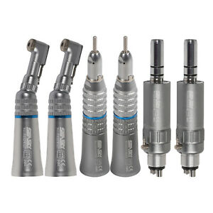 2 Kits Dental Low Speed Straight Nose Cone Contra Angle Air Motor Handpiece 4 2h