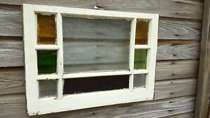 Architectural Salvage Antique Window Frame Stained Glass Panes Church 20 X 28