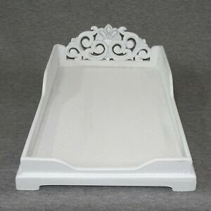 White Wood Refinished Paper Letter Tray Desk Organizer Pretty Gray Silver Accent
