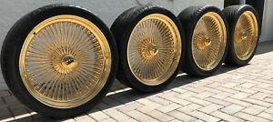 22 Genuine 24k Plated All Gold Dayton Wire Wheel Complete Set Knock Off