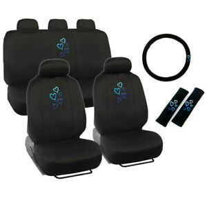 New Blue Hearts Logo Black Front Back Car Seat Covers Steering Wheel Cover Set