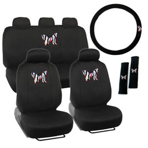 New Butterfly Zebra Stripes Front Back Car Seat Covers Steering Wheel Cover Set