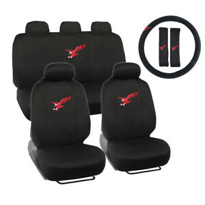 New Red Eagle Logo Black Front Back Car Seat Covers Steering Wheel Cover Set