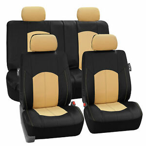 Deluxe Faux Leather Car Seat Covers Sport Top Quality Beige For Car Suv