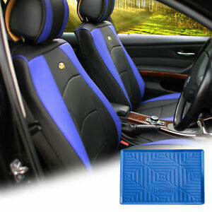Car Leather Seat Cushion Covers Front Bucket Blue W Dash Mat For Auto