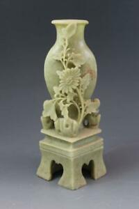 Vintage Chinese Soapstone Hand Carved Cabinet Vase W Chrysanthemum Flowers