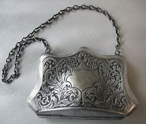 Antique Art Nouveau Floral Scroll Leaf Silver P Card Case Compact Coin Purse