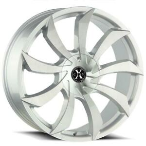 26 Inch 26x10 Xcess X01 Silver Brushed Wheel Rim 5x5 5x127 18