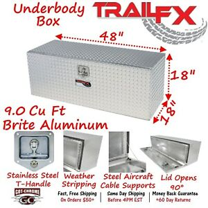 190481 Trailfx 48 Polished Aluminum Underbed Truck Trailer Tool Box