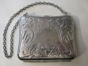 Antique Art Nouveau Floral Silver Plate Fabric Lining Card Case Coin Purse