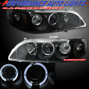 Set Of Pair Black Projector Headlights W Halo Rims For 1998 2002 Honda Accord